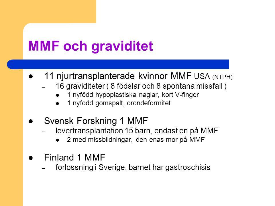 MMF och graviditet 11 njurtransplanterade kvinnor MMF USA (NTPR)