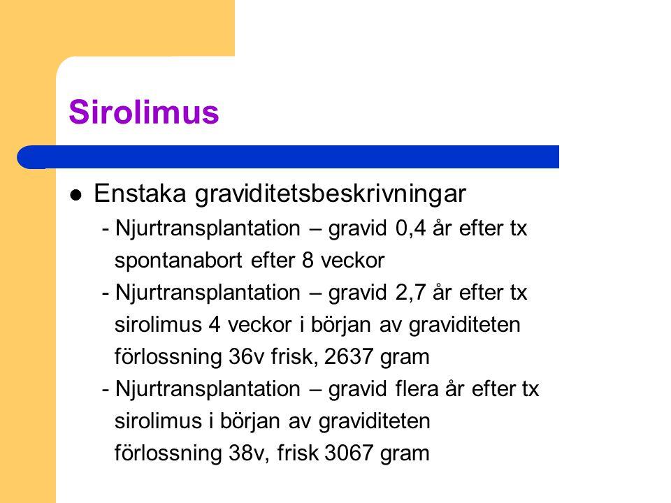 Sirolimus Enstaka graviditetsbeskrivningar