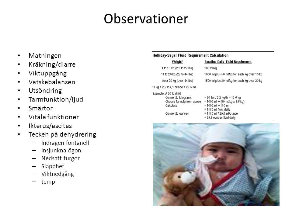 Observationer Matningen Kräkning/diarre Viktuppgång Vätskebalansen