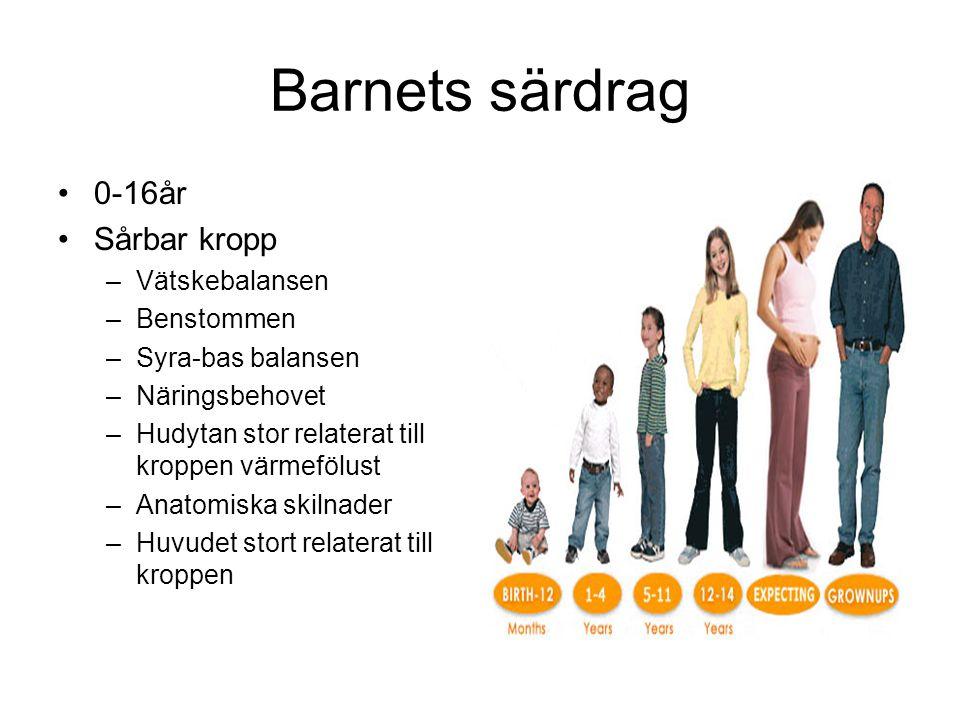 Barnets särdrag 0-16år Sårbar kropp Vätskebalansen Benstommen