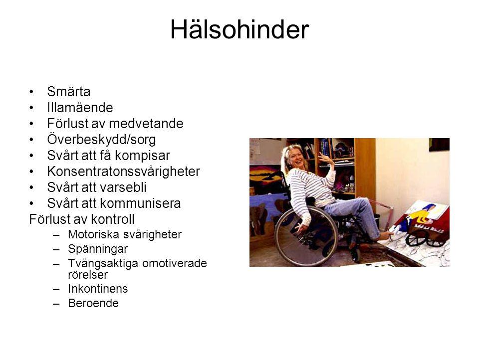 Hälsohinder Smärta Illamående Förlust av medvetande Överbeskydd/sorg