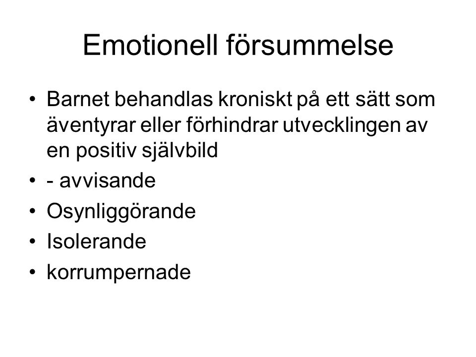Emotionell försummelse