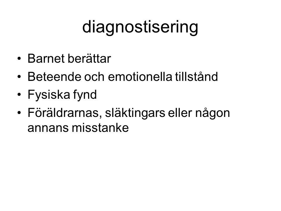 diagnostisering Barnet berättar Beteende och emotionella tillstånd