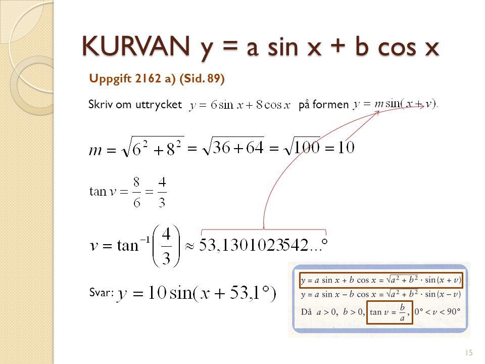 KURVAN y = a sin x + b cos x Uppgift 2162 a) (Sid. 89)