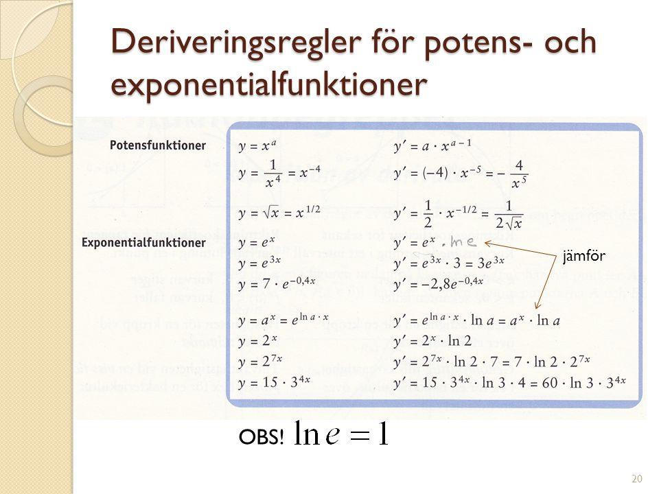 Deriveringsregler för potens- och exponentialfunktioner