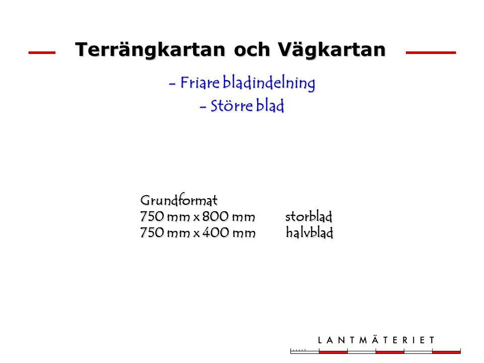 Terrängkartan och Vägkartan - Friare bladindelning