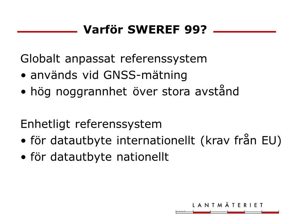 Varför SWEREF 99 Globalt anpassat referenssystem. används vid GNSS-mätning. hög noggrannhet över stora avstånd.