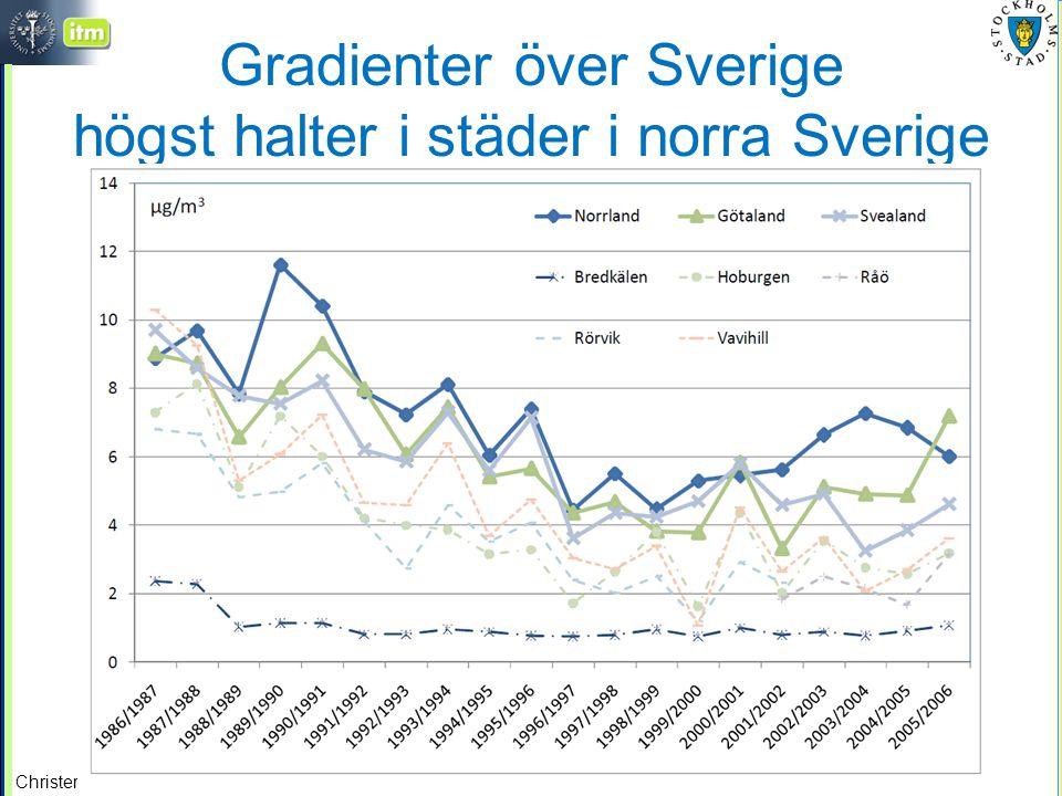 Gradienter över Sverige högst halter i städer i norra Sverige