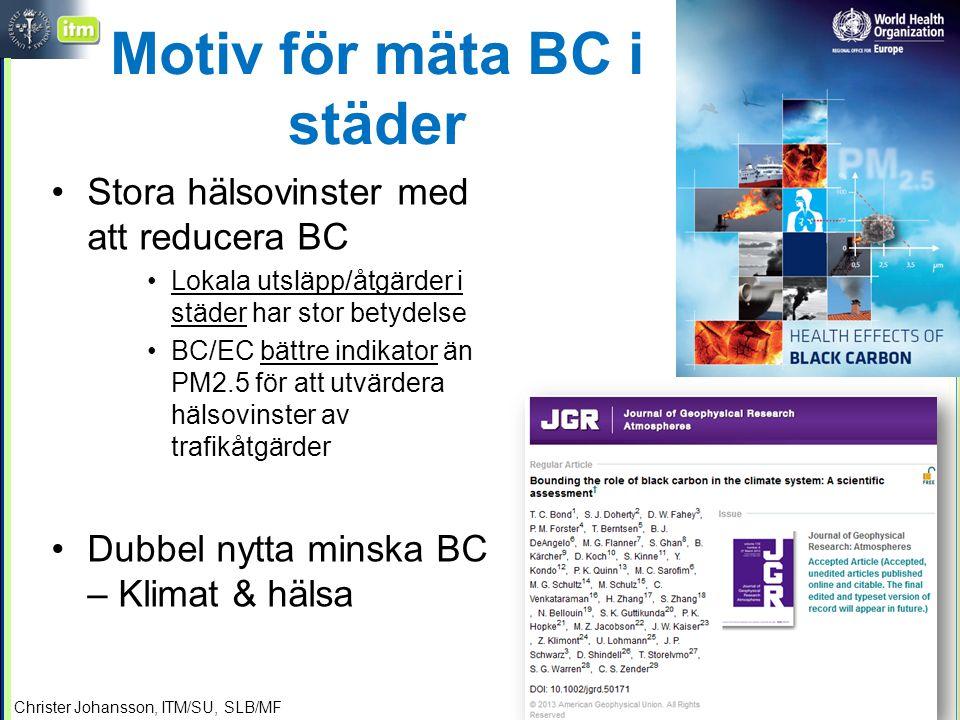 Motiv för mäta BC i städer