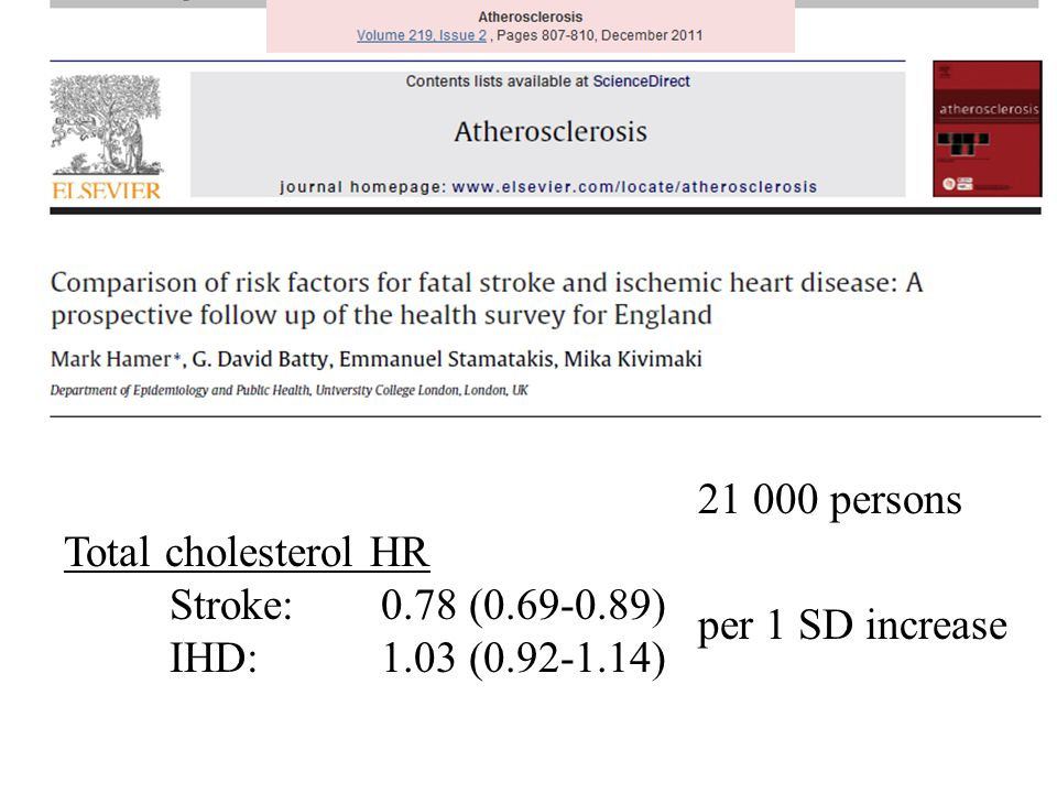 21 000 persons Total cholesterol HR Stroke: 0. 78 (0. 69-0. 89) IHD: 1