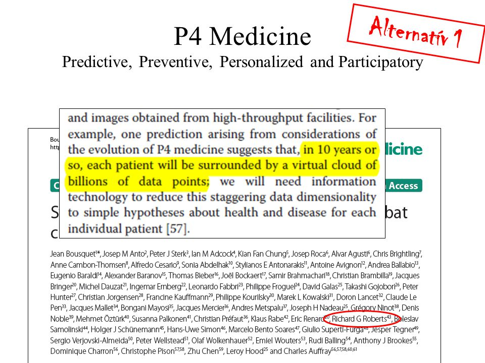 P4 Medicine Predictive, Preventive, Personalized and Participatory