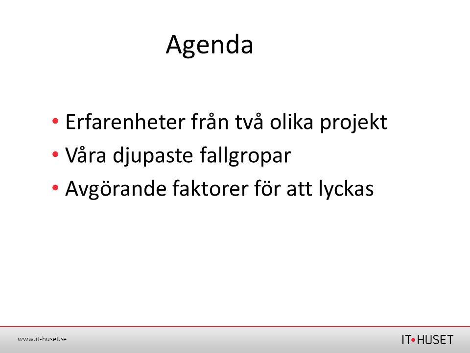 Agenda Erfarenheter från två olika projekt Våra djupaste fallgropar