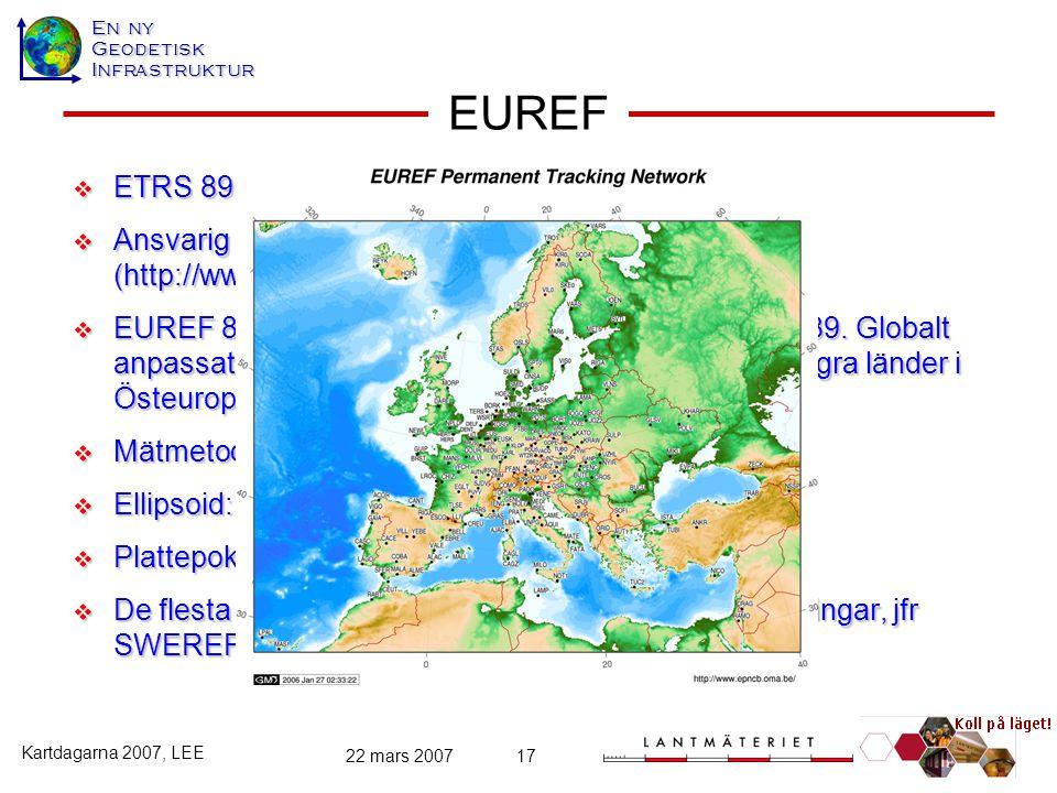 EUREF ETRS 89 (EUREF 89) Ansvarig producent: IAG:s subkommission EUREF (http://www.euref-iag.net/)