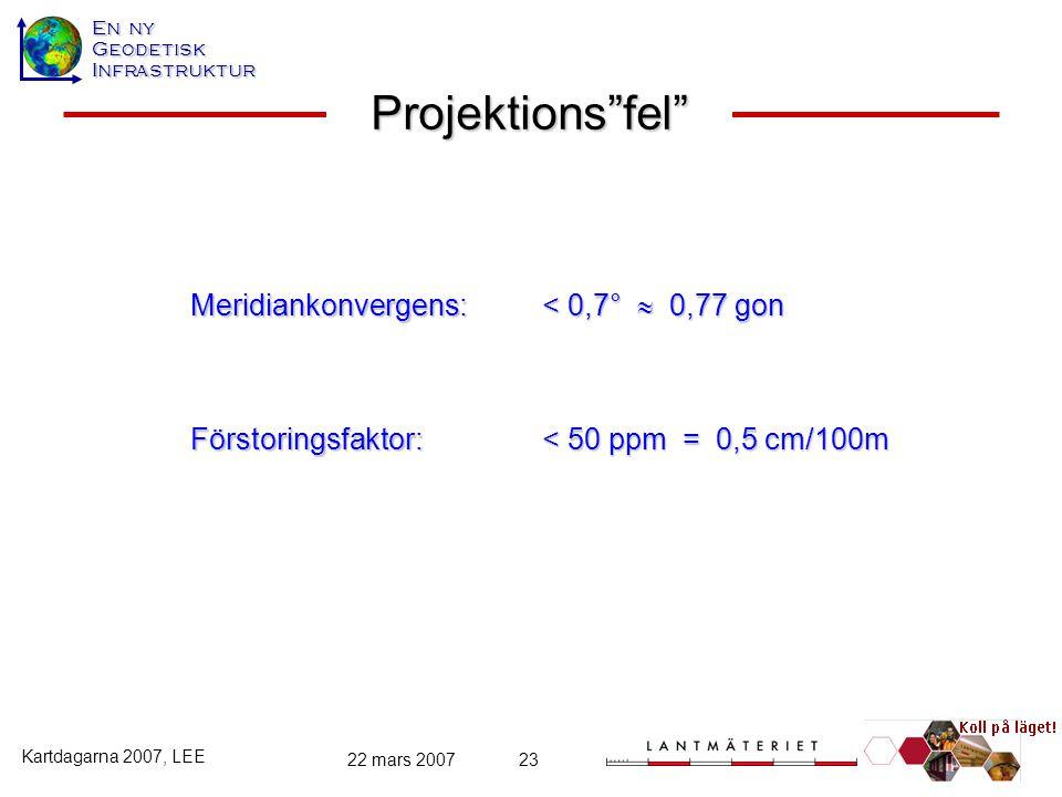 Projektions fel Meridiankonvergens: < 0,7°  0,77 gon