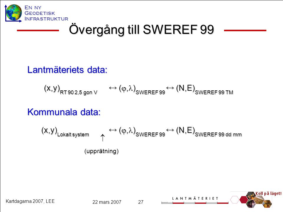 Övergång till SWEREF 99 Lantmäteriets data: Kommunala data: