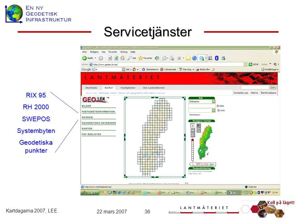 Servicetjänster RIX 95 RH 2000 SWEPOS Systembyten Geodetiska punkter
