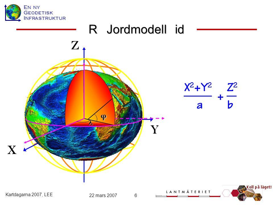Rotationsellipsoid Jordmodell Z X2+Y2 Z2 + a b Y X φ 