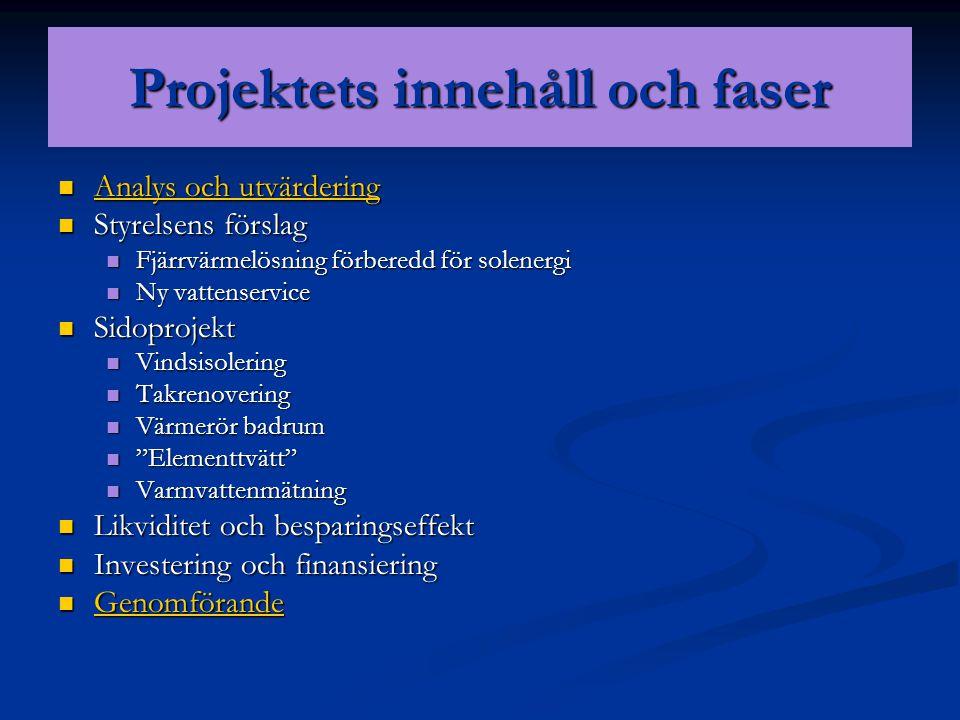 Projektets innehåll och faser