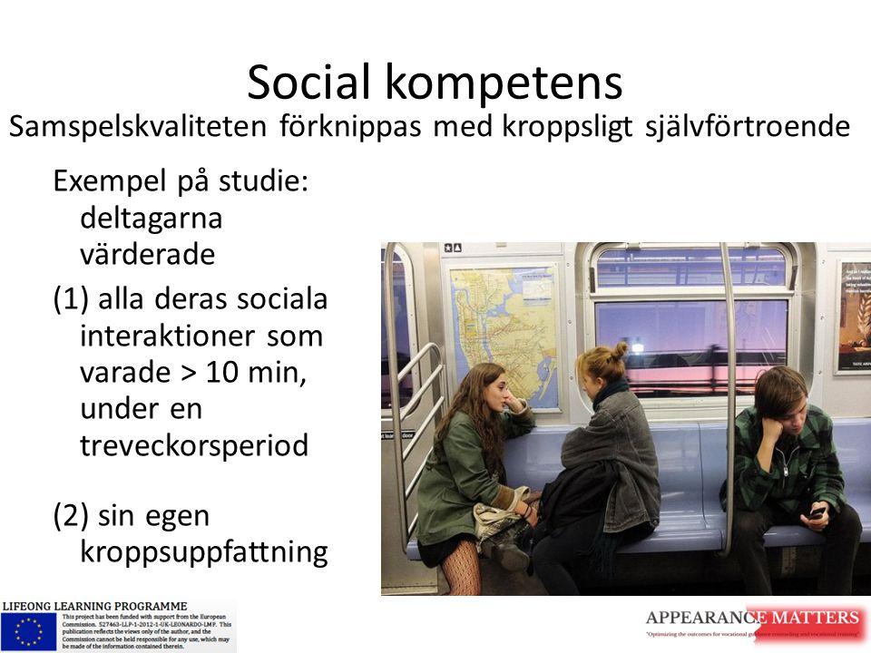 Social kompetens Samspelskvaliteten förknippas med kroppsligt självförtroende. Exempel på studie: deltagarna värderade.