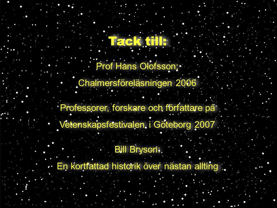 Tack till: Prof Hans Olofsson: Chalmersföreläsningen 2006