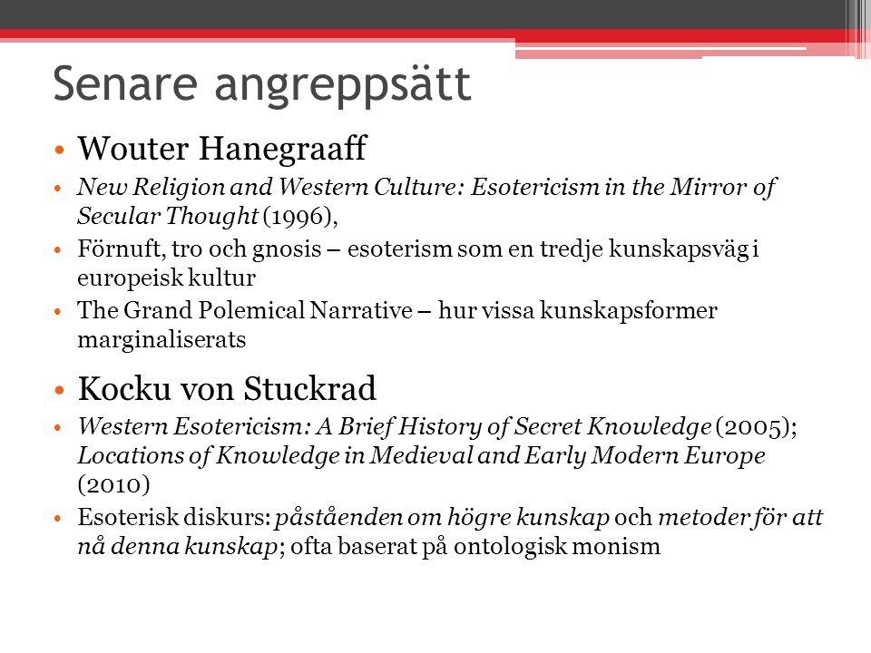 Senare angreppsätt Wouter Hanegraaff Kocku von Stuckrad