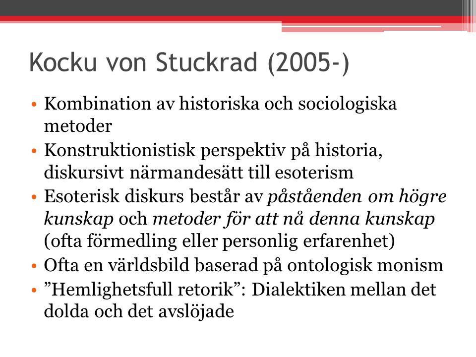 Kocku von Stuckrad (2005-) Kombination av historiska och sociologiska metoder.