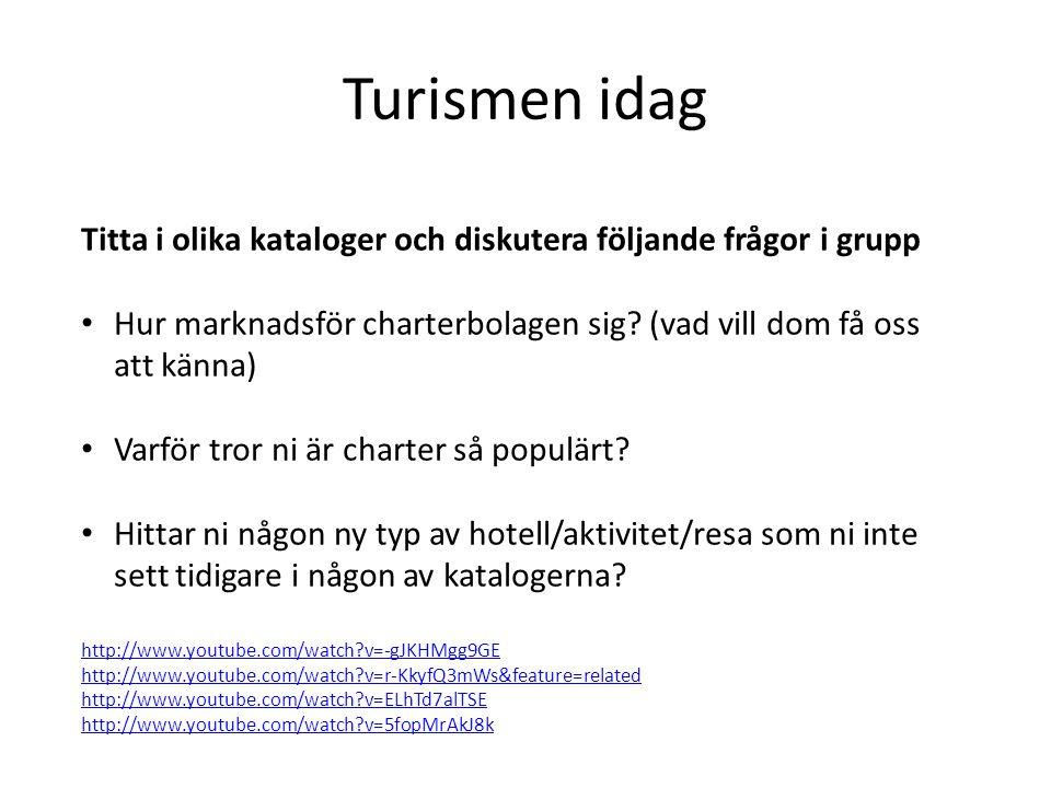 Turismen idag Titta i olika kataloger och diskutera följande frågor i grupp. Hur marknadsför charterbolagen sig (vad vill dom få oss att känna)