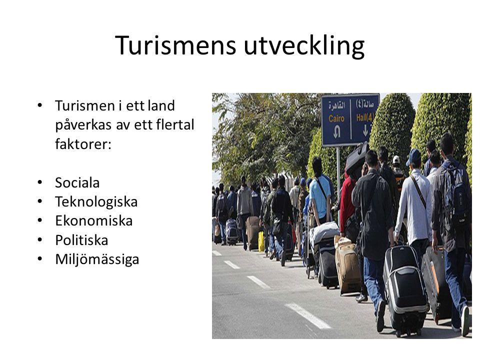 Turismens utveckling Turismen i ett land påverkas av ett flertal faktorer: Sociala. Teknologiska.