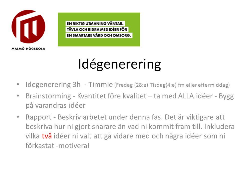 Idégenerering Idegenerering 3h - Timmie (Fredag (28:e) Tisdag(4:e) fm eller eftermiddag)