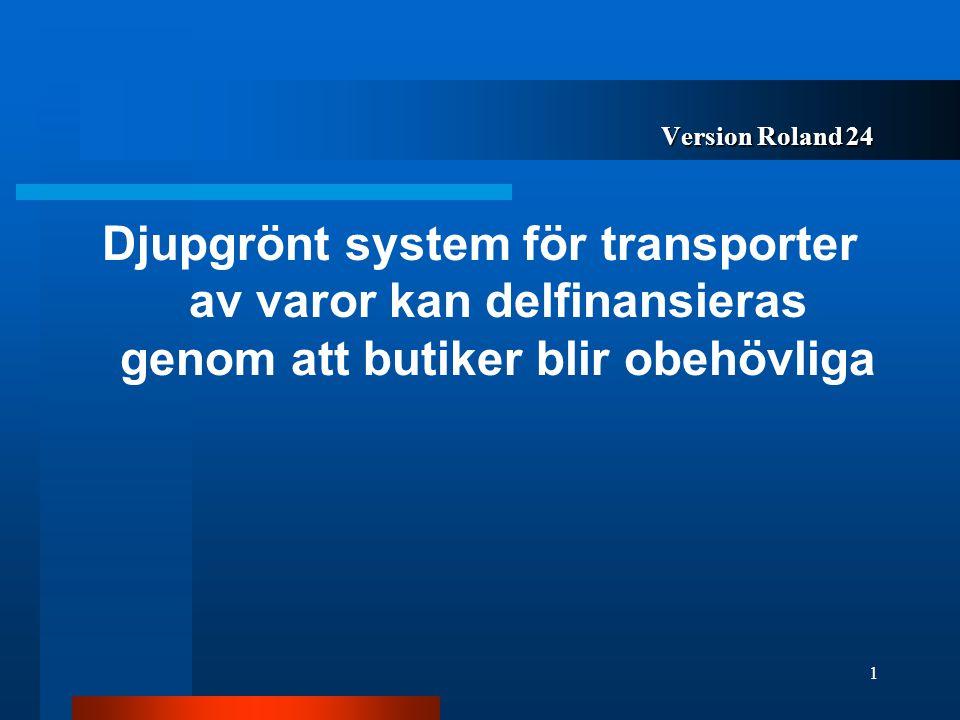 Version Roland 24 Djupgrönt system för transporter av varor kan delfinansieras genom att butiker blir obehövliga.