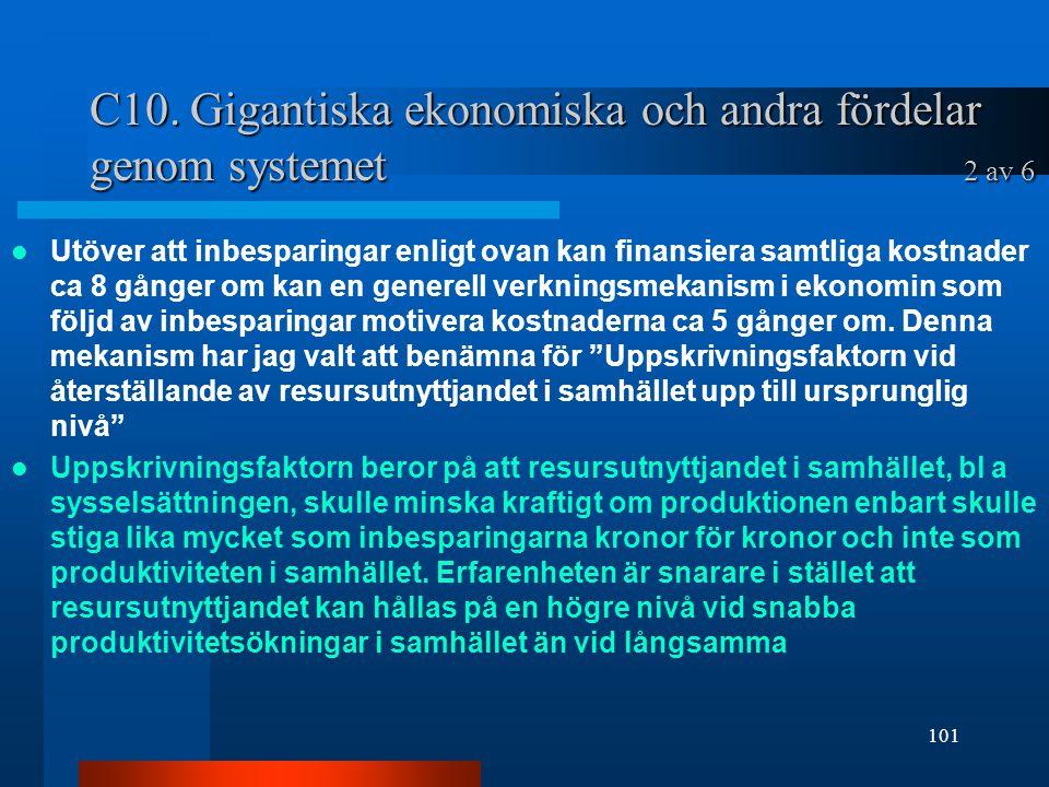 C10. Gigantiska ekonomiska och andra fördelar genom systemet 2 av 6