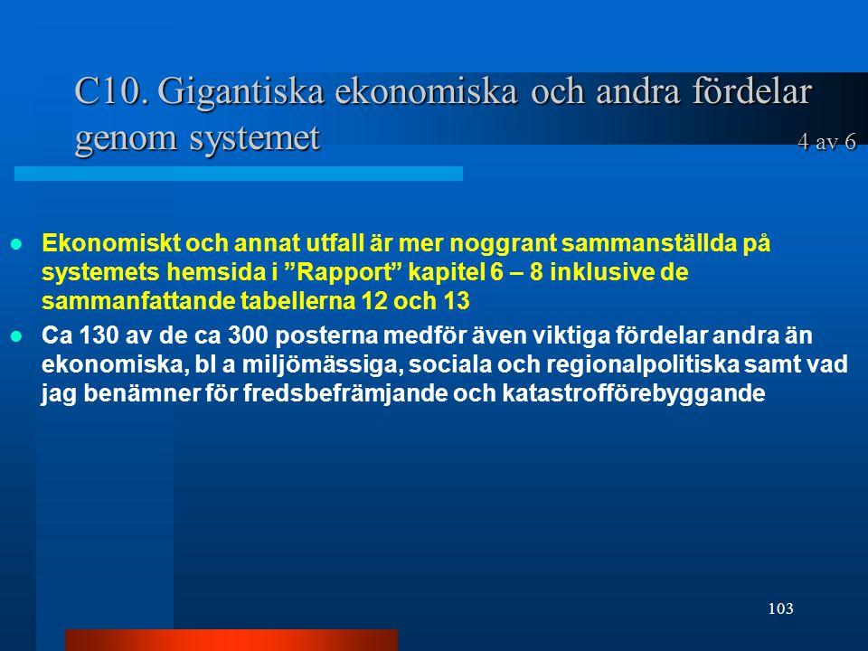 C10. Gigantiska ekonomiska och andra fördelar genom systemet 4 av 6
