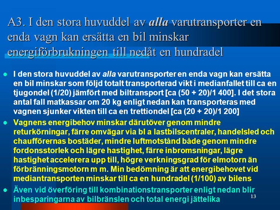 A3. I den stora huvuddel av alla varutransporter en enda vagn kan ersätta en bil minskar energiförbrukningen till nedåt en hundradel