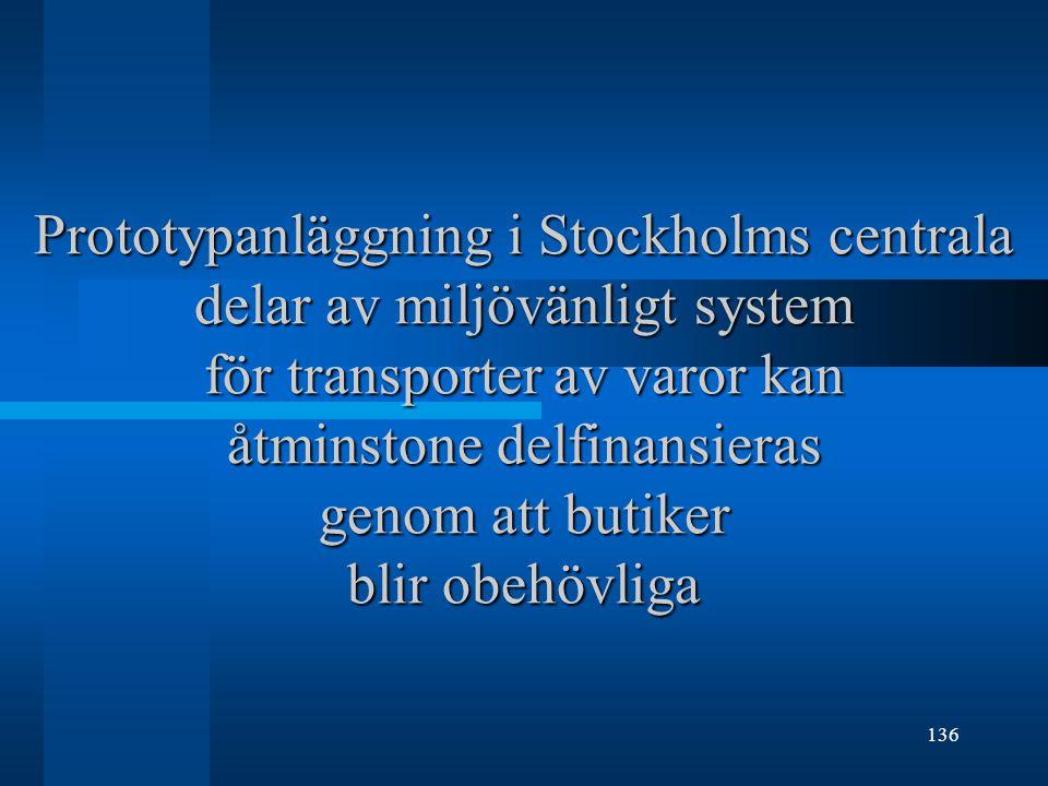 Prototypanläggning i Stockholms centrala delar av miljövänligt system för transporter av varor kan åtminstone delfinansieras genom att butiker blir obehövliga