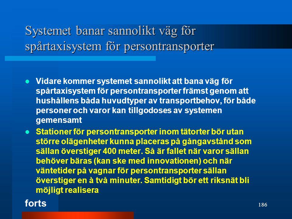Systemet banar sannolikt väg för spårtaxisystem för persontransporter