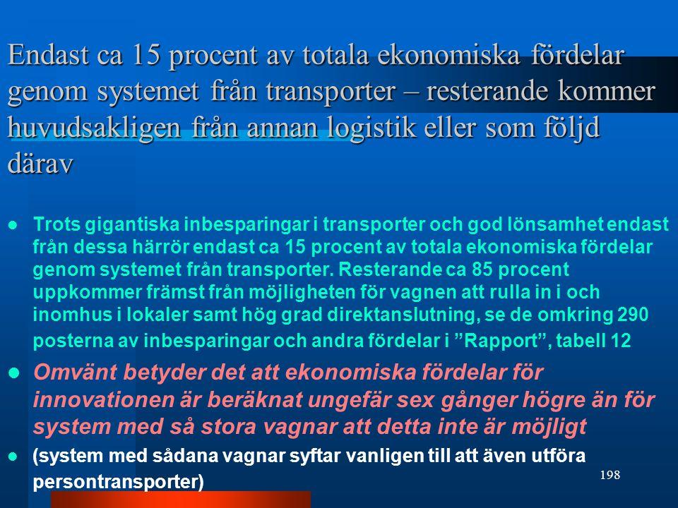 Endast ca 15 procent av totala ekonomiska fördelar genom systemet från transporter – resterande kommer huvudsakligen från annan logistik eller som följd därav
