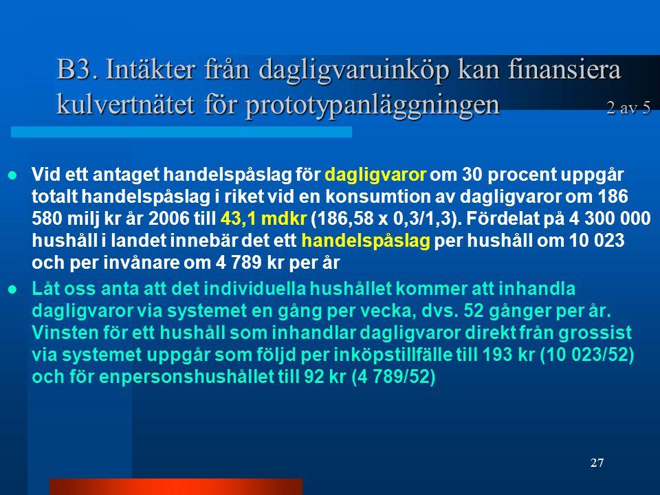 B3. Intäkter från dagligvaruinköp kan finansiera kulvertnätet för prototypanläggningen 2 av 5