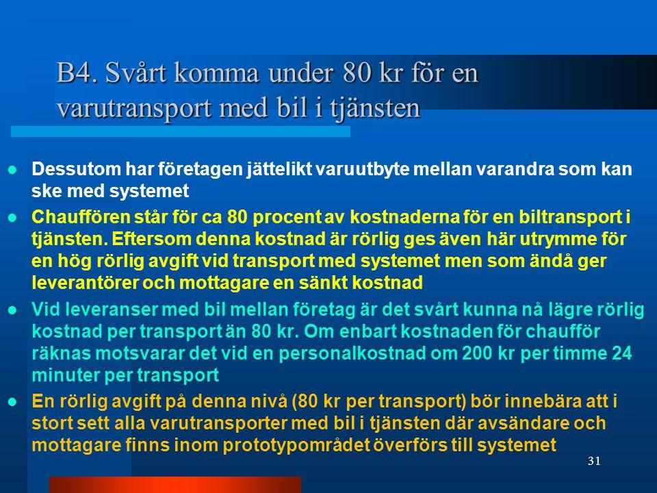B4. Svårt komma under 80 kr för en varutransport med bil i tjänsten