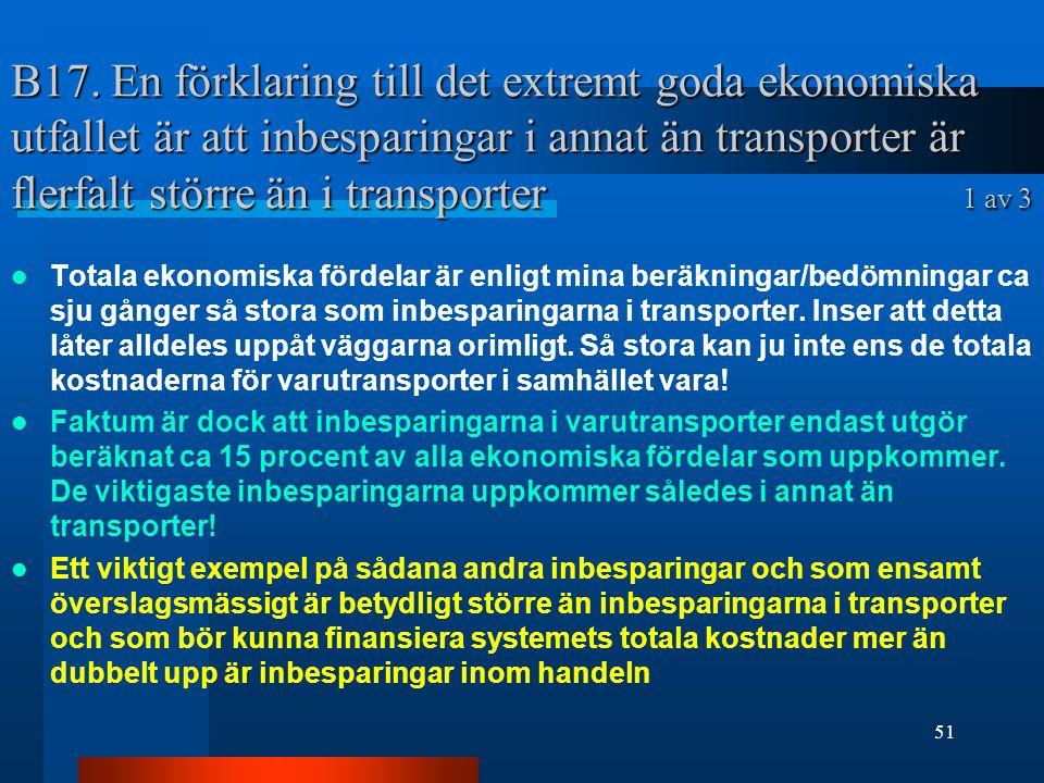 B17. En förklaring till det extremt goda ekonomiska utfallet är att inbesparingar i annat än transporter är flerfalt större än i transporter 1 av 3
