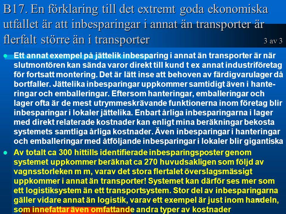 B17. En förklaring till det extremt goda ekonomiska utfallet är att inbesparingar i annat än transporter är flerfalt större än i transporter 3 av 3