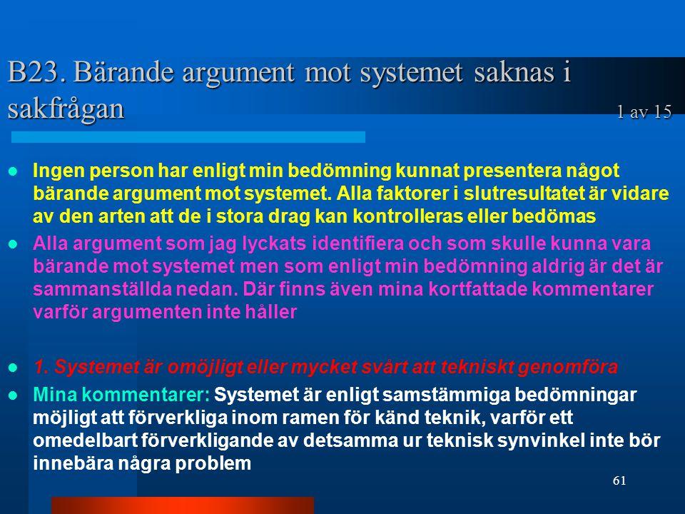 B23. Bärande argument mot systemet saknas i sakfrågan 1 av 15