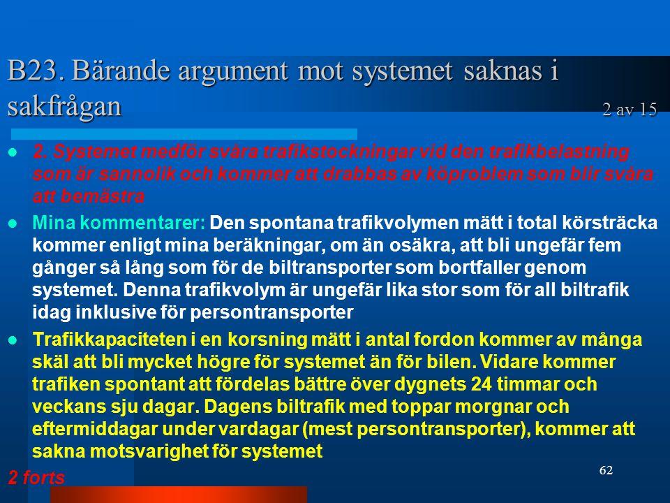 B23. Bärande argument mot systemet saknas i sakfrågan 2 av 15