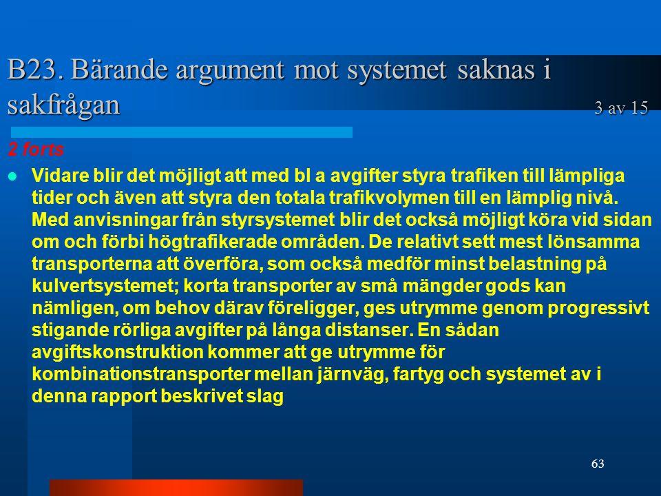 B23. Bärande argument mot systemet saknas i sakfrågan 3 av 15