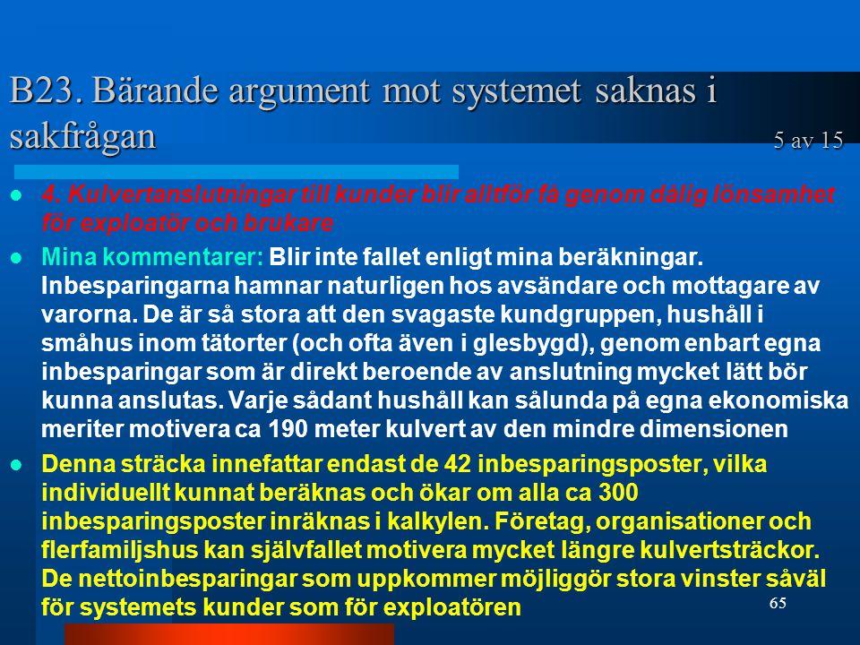 B23. Bärande argument mot systemet saknas i sakfrågan 5 av 15