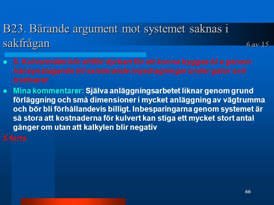 B23. Bärande argument mot systemet saknas i sakfrågan 6 av 15