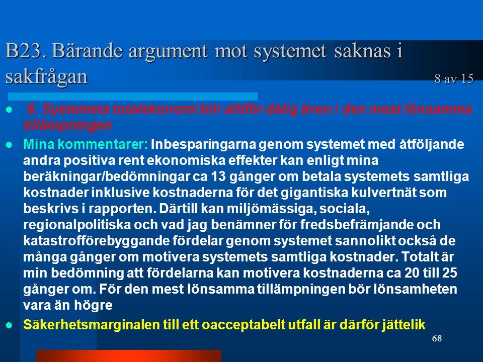 B23. Bärande argument mot systemet saknas i sakfrågan 8 av 15