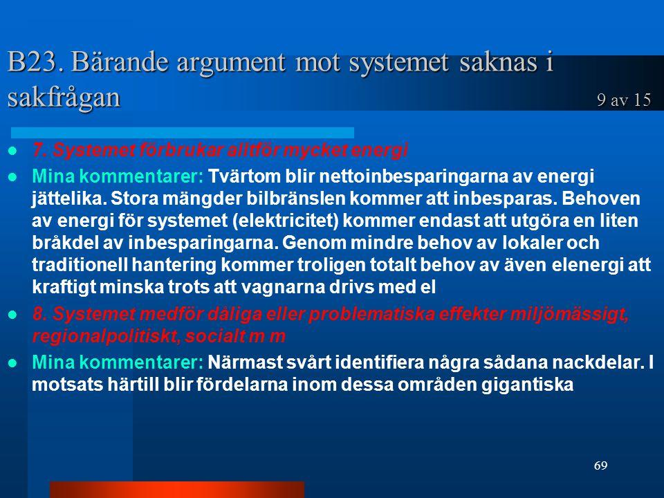 B23. Bärande argument mot systemet saknas i sakfrågan 9 av 15