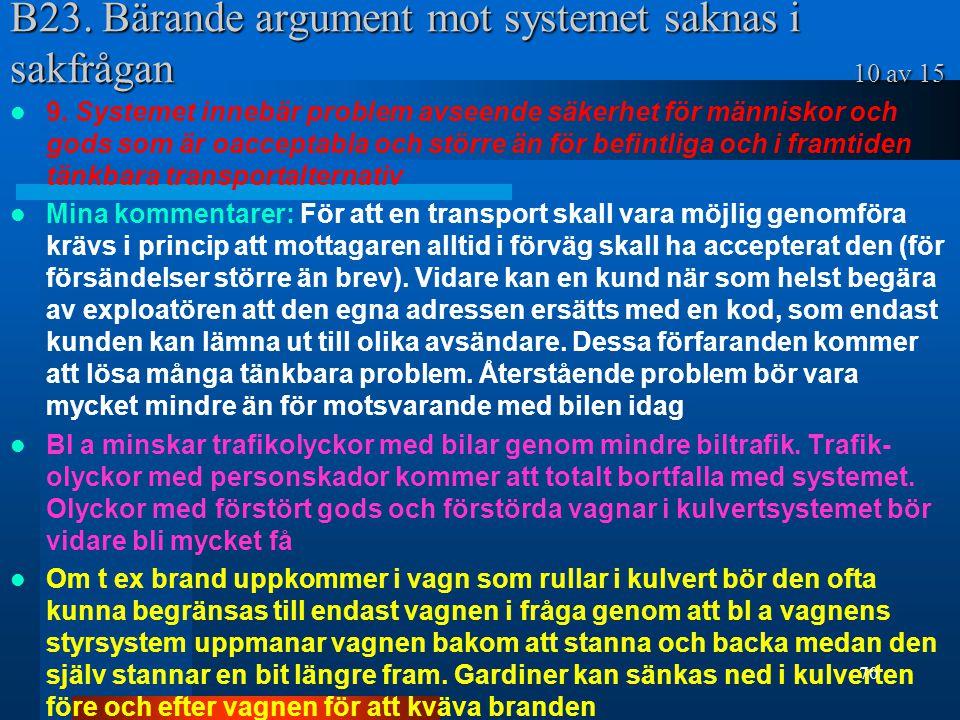 B23. Bärande argument mot systemet saknas i sakfrågan 10 av 15