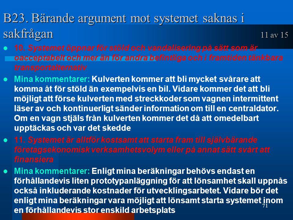 B23. Bärande argument mot systemet saknas i sakfrågan 11 av 15