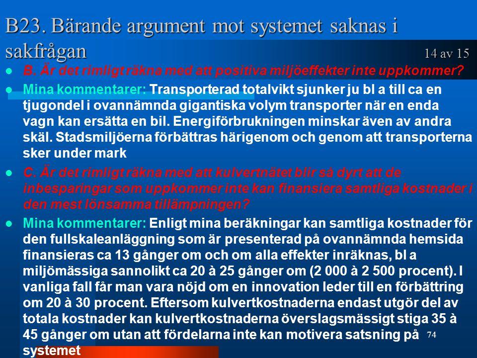B23. Bärande argument mot systemet saknas i sakfrågan 14 av 15